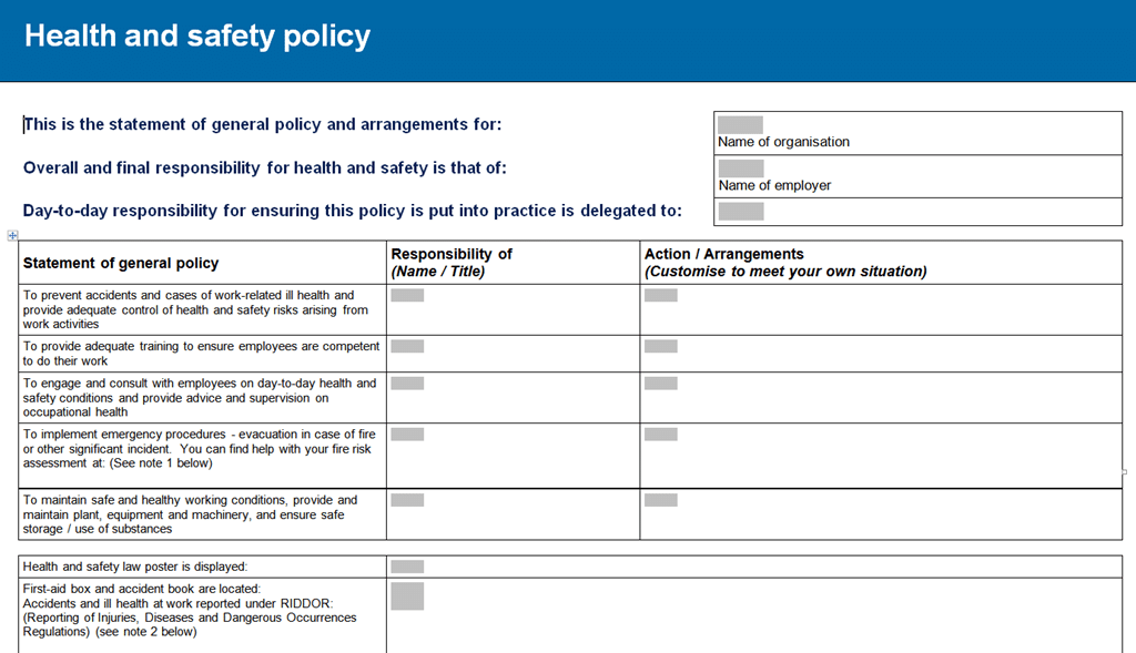 Hse Health And Safety Policy Template Safety Policy Examples