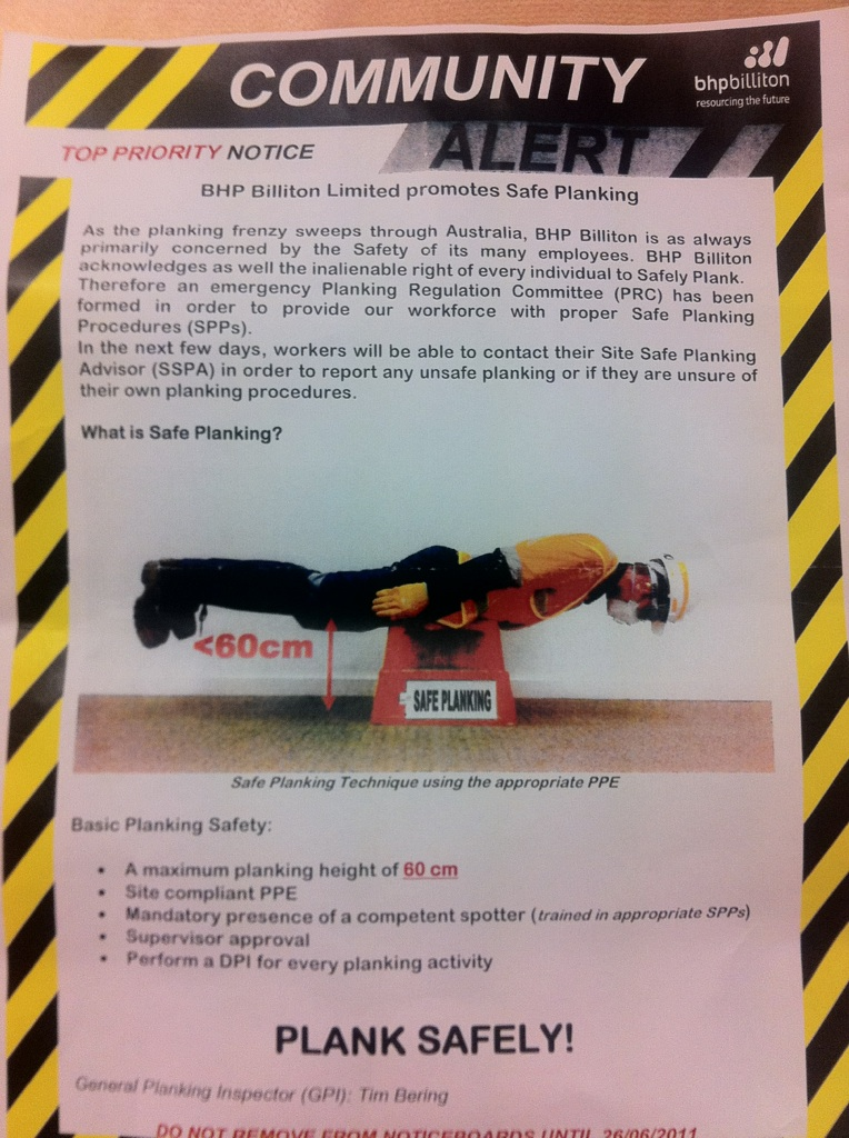the bhp planking safety alert safety risk